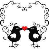Ornamental loving birds — Vector de stock