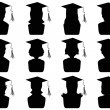 Graduation head icons — Stock Vector