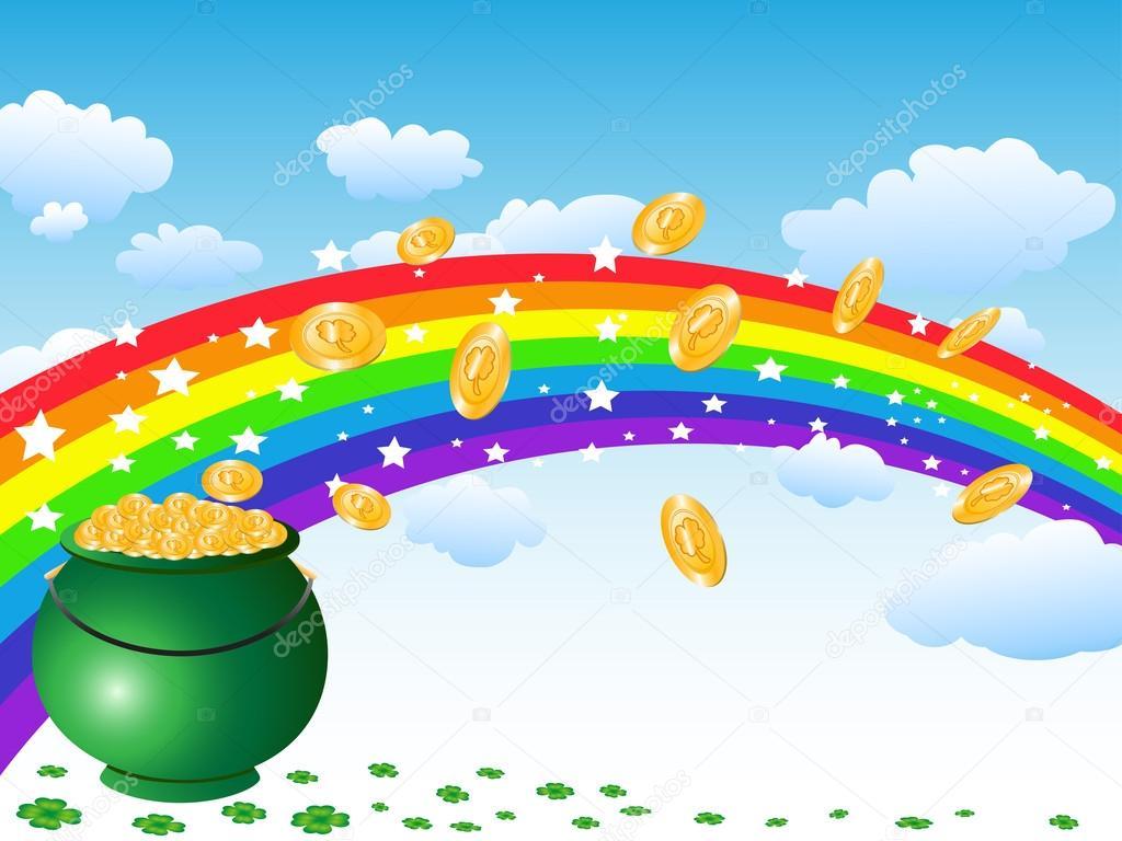 Scarica - Pentola di monete d'oro e arcobaleno — Illustrazione stock