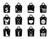 Black shopping bag — Stockvector