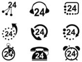 24-hrs service icons — Stock Vector