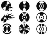 Black cd icons set — Vecteur