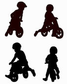 Boy on bike — Vector de stock