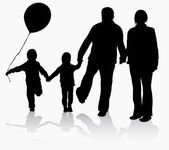Grandparents with grandchildren silhouettes — Vetorial Stock