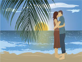 Couple on the beach — Stock Vector