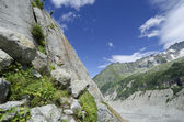 Climbing route to glacier in the french Alps — Stock Photo