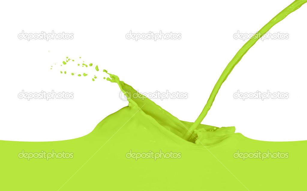 绿色油漆溅上白– 图库图片