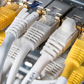 Network hub and patch cables — Stock Photo
