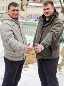 Two guys in jackets — Stock Photo