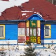 Woody colored house in polish village — Stock Photo