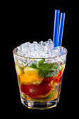 Alcohol drink, cocktail with fruits, ice, isolated black — Stock Photo