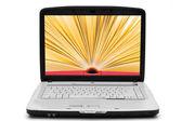 Open book on the laptop screen , e-book — Stock Photo