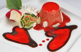 Valentine day dessert with two hearts — Stock Photo