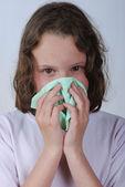 Garota espirros — Foto Stock