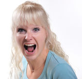 Young woman shouting — Stock Photo