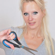 Woman with scissors — Stock Photo