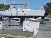 Sailboat in maintenance area  — Stock Photo