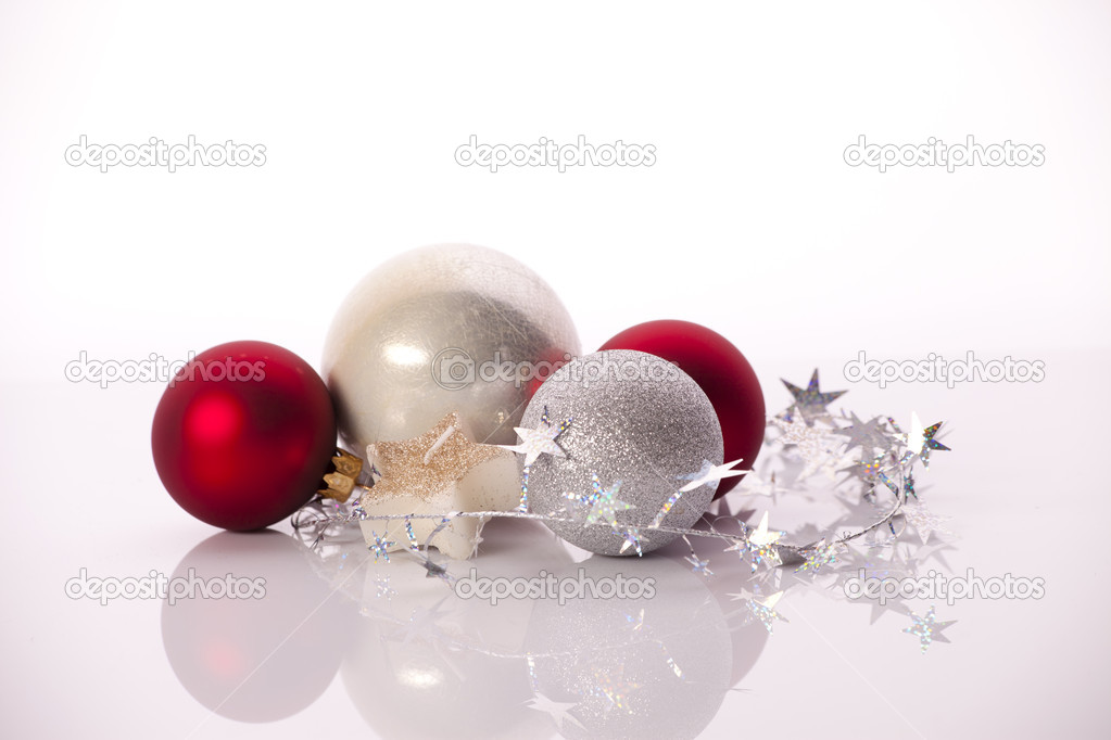 Christmas Balls Isolated on White  Stock Photo #13843805