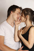 Kissing young couple — Stock Photo