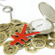 Pocket watch and Chinese ancient currency — Stock Photo