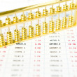 Gold abacus and statistical report — Stock Photo