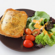 Chicken pie with salad — Stock Photo