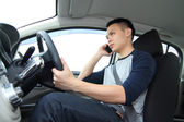 Talking while driving — Stock Photo