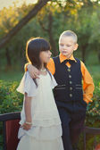 Portrait of a little boy and girl couple — Stock Photo