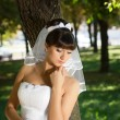 The bride in a meditative pose — Stock Photo