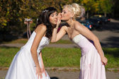 Secretive two brides — Stock Photo