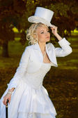 Sexy blonde bride — Stock Photo