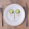 Vegetable Face on Plate - Male, Shy — Stock Photo