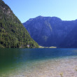 View from the Koenigssee towards the alps - Stock Photo