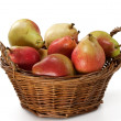 Pears in Wooden Basket - Stock Photo