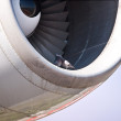Detail view of a jet plane engine, with two doves - Stock Photo