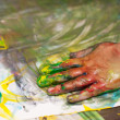 Little Children Hands doing Fingerpainting — ストック写真