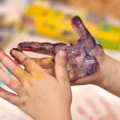 Little Children Hands doing Fingerpainting — Zdjęcie stockowe