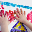 Little Children Hands doing Fingerpainting — Photo
