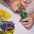 Little Children Hands doing Fingerpainting — Stockfoto