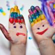 Little Children Hands doing Fingerpainting — Foto Stock