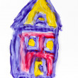 Child painting of a house — Foto Stock