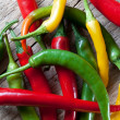 Red, Yellow and Green Chili Pepper — Photo