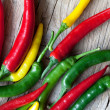 Red, Yellow and Green Chili Pepper — Lizenzfreies Foto