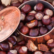 Chestnuts and copper kettle, autumn concept image — Foto Stock