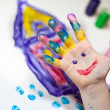 Little Children Hands doing Fingerpainting — Stock Photo