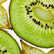 Sliced Kiwi and Carambola Starfruit isolated on white - Stock Photo