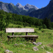 Benches in the bavarian alps — Stock Photo