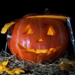 Halloween Pumpkin, inside lit by light, creepy looking - Stock Photo