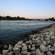 View of river Rhine near Speyer, Germany, at sundown - Stock Photo