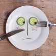 Vegetable Face on Plate - Male, Unhappy — Stock Photo
